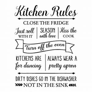 kitchen rules wall quotestm decal wallquotescom With kitchen colors with white cabinets with sticker telegram kiss