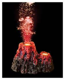 erupting volcano with led aquarium bubbler ornament fish