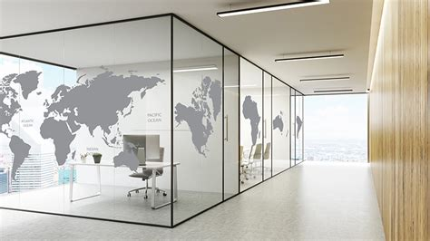 printed office glass partition world map pattern