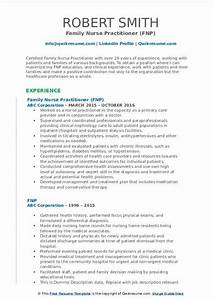 Cv Template For Professionals Family Nurse Practitioner Resume Samples Qwikresume