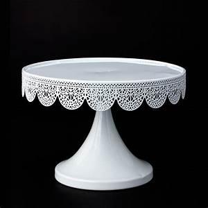 metal pedestal eyelet cake stand white