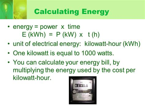 calculate electricity cost from watts ch 7 electricity ppt