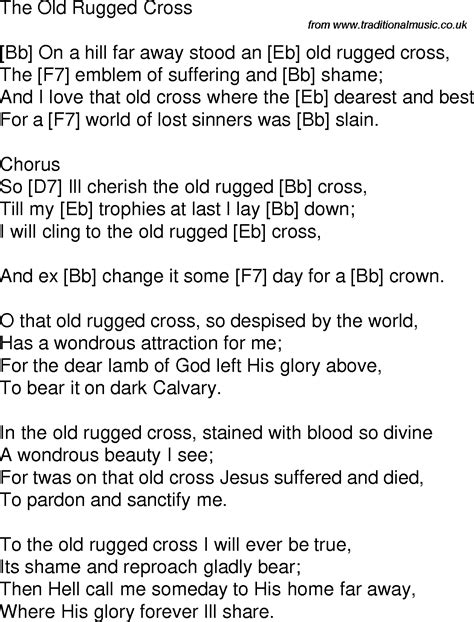 To The Rugged Cross Lyrics by Time Song Lyrics With Guitar Chords For The Rugged