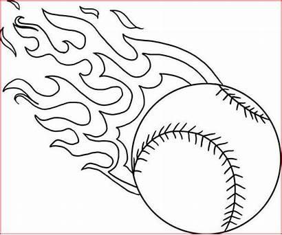 Baseball Coloring Pages Fire Printable Flame Softball