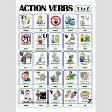 Pictionary  Action Verb Set (5)  From T To Z  English Grammar  Pinterest  Action Verbs