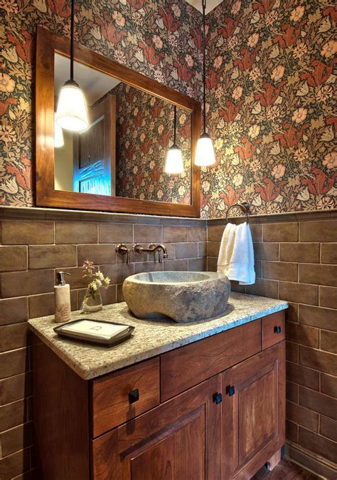 stone vessel sinks Powder Room Contemporary with bathroom mirror floral wallpaper
