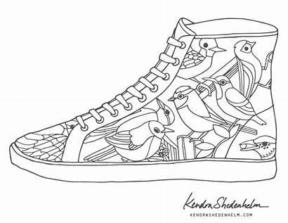Coloring Shoe Shoes Nike Pages Jordan Drawing