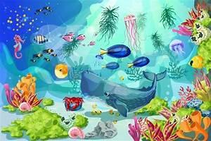 Cartoon Marine Underwater Landscape Template by VectorPot ...