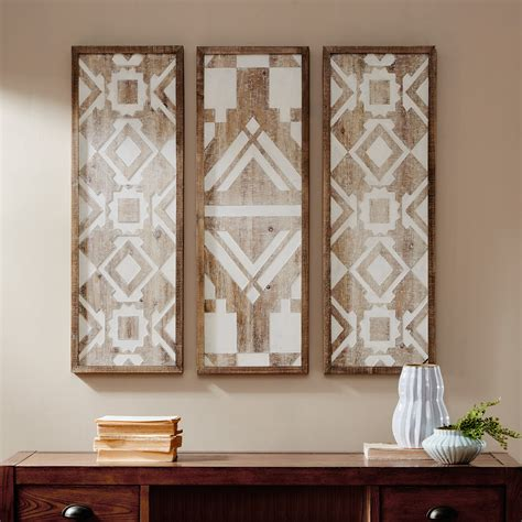 Wood accent wall accent wall wall panels wood panel walls wood decor wall paneling wood modern room real wood. Set of 3 Geometric Pattern Vertical Wall Art Wood Panels ~ Distressed Boho Chic 7426910331394 | eBay