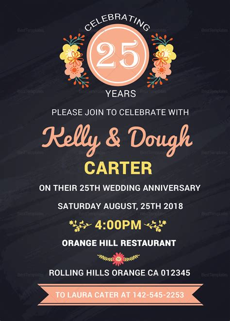 chalkboard anniversary invitation card design template