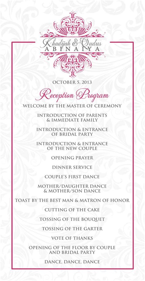 wedding reception program outline agenda wedding stationery for khadijah wedding wedding