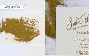 diy tutorial gold embossed save the dates With gold leaf wedding invitations diy