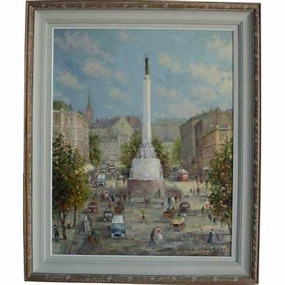 Latvian Freedom Monument Rubylane Latvia Riga Painting