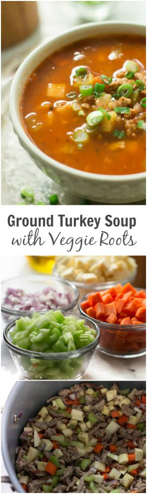 Mix well and bring the chili to a boil. Ground Turkey Soup with Veggie Roots - This Ground Turkey Soup with Veggie Roots is made with ...