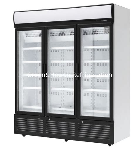 glass door beverage refrigerator 3 doors stainless steel glass door beverage cooler large