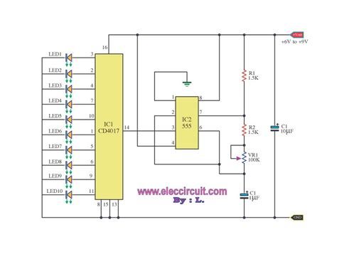 led light chaser circuit diagram led chaser by ic 4017 ic 555 pcb components pinterest