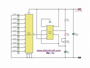 Led Chaser Circuit By Ic 4017   Ic 555