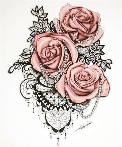 inked roses  pearls  sleeve tattoos
