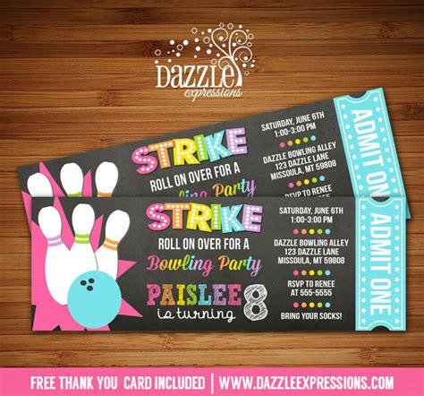printable girl chalkboard bowling ticket birthday