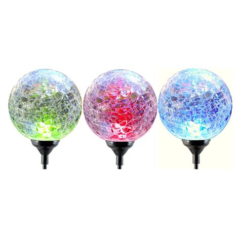 fixture solar crackle glass changing color led light