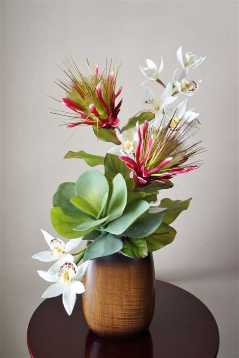 Silk Flower Arrangement, Tropical Flower Arrangement With