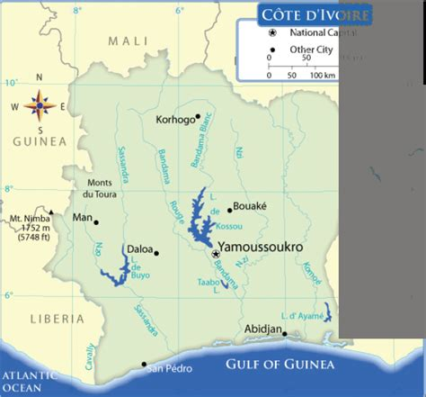 Map Of Cote D'ivoire. Terrain, Area And Outline Maps Of