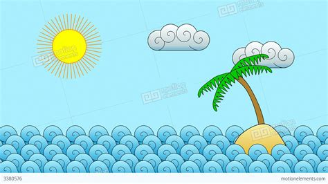 Cartoon Island Motion Background Stock Animation