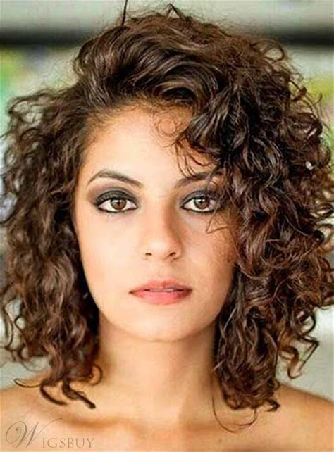 hair styles side swept bangs curly mid length human hair lace front 7688