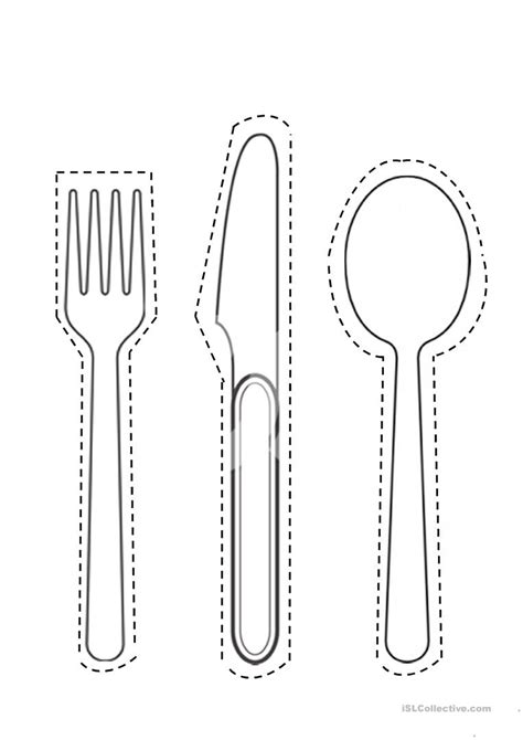 spoon fork knife cut  worksheet  esl printable