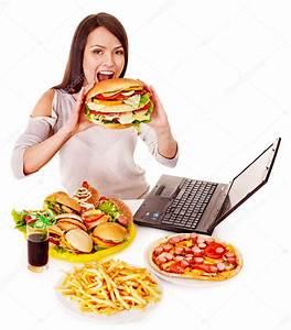 Woman eating junk food. — Stock Photo © poznyakov #12802368