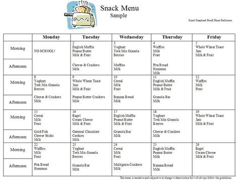 preschool curriculum preschool s snack menu sample 996 | b01929040a6fd77f91d5ecac368abe32