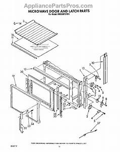 Parts For Whirlpool Rm988pxvw4  Microwave Door And Latch