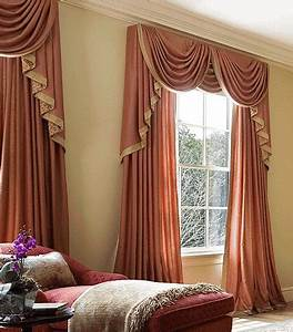 Luxury orange curtains drapes and window treatments for Curtains for bedroom windows with designs 2015