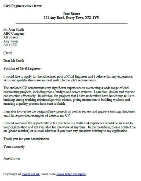 How To Write An Engineering Cover Letter by Civil Engineer Cover Letter Exle Cover Letter