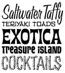 im liking  salt water taffy font tiki font cool