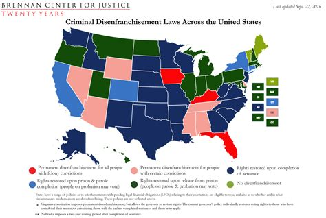 disenfranchisement criminal map laws states florida voting united rights restoration state felony across version felons vote center current its kentucky