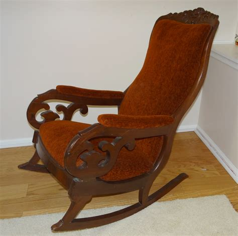 antique mahogany upholstered rocking chair quot lincoln rocker