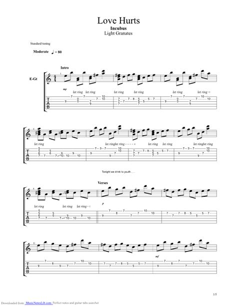 love hurts guitar pro tab  incubus  musicnoteslibcom