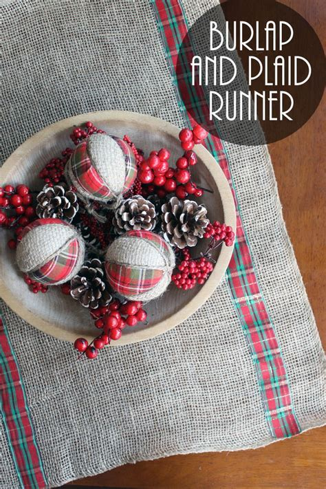 burlap  plaid table runner  christmas favecraftscom