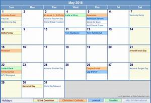 May 2016 Us Calendar With Holidays For Printing  Image Format