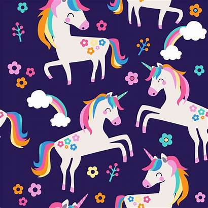 Unicorn Pattern Unicorns Vector Seamless Flowers Background