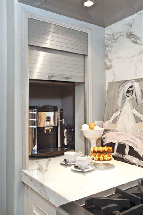 hidden coffee station transitional kitchen elizabeth