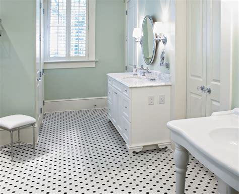 "1"" Black and White Hexagon Rosette Pattern Ceramic Mosaics"