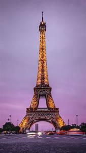 Eiffel, Tower, 4k, Wallpaper, Paris, France, Evening, Purple