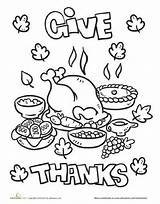 Thanksgiving Coloring Dinner Feast Worksheet Worksheets Thanks Education Give Preschool Turkey Kindergarten Sheets Printable Activity Happy Holiday Children Teens Colouring sketch template