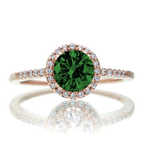 1 5 carat classic emerald and diamond vintage engagement ring 10k rose gold jeenjewels