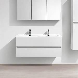 Meuble Salle De Bain Double Vasque 100 Cm : le monde du bain meuble salle de bain design double vasque siena largeur 120 cm blanc l ~ Teatrodelosmanantiales.com Idées de Décoration