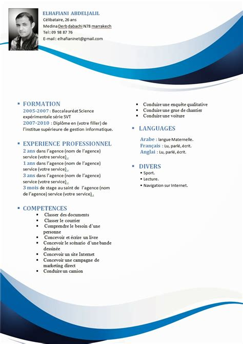 Exemple Cv Format Word by Exle Resume Exemple Cv Gratuit A Remplir