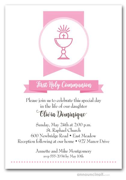 Pink Chalice Banner Girl's First Communion Invitations