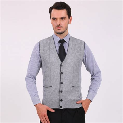 mens sweater vest 2015 fashion solid wool v neck cardigan sweater